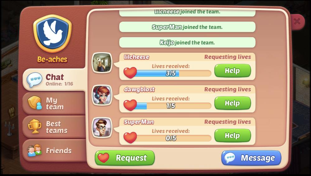 Homescapes' Teams