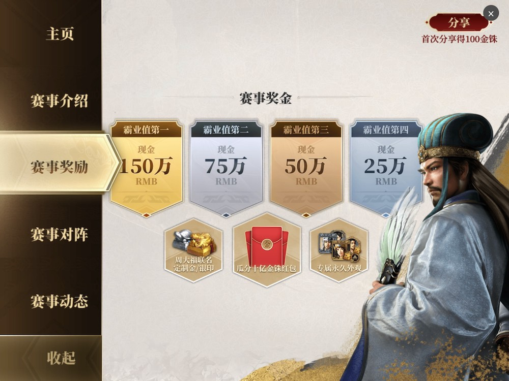A hardcore 4X-strategy game, Three Kingdoms Tactics (三国志·战略版) is organizing a special tournament 千盟邀请赛 in September, with 1.5 million RMB (approx. USD 232,600) as the main prize.